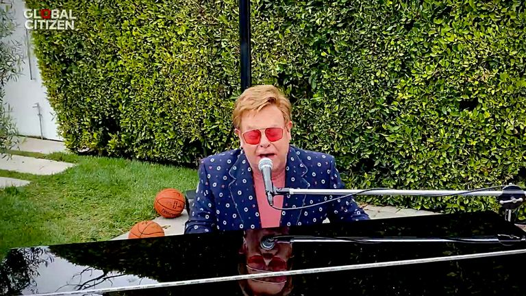 Sir Elton John performed I'm Still Standing during the virtual concert