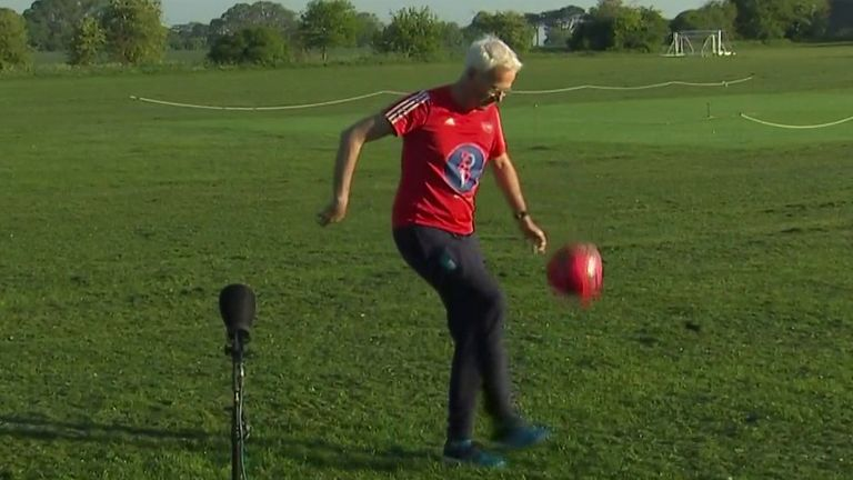 Sky correspondent performs 26 keepy-uppies live on air