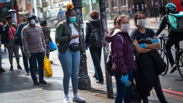 People pictured wearing face masks in Brixton, south London