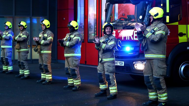 Firefighters in Plaistow, London, joined in with the applause