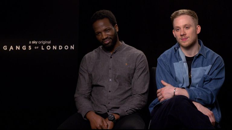 Joe Cole and Sope Dirisu doing an interview for Gangs of London.
