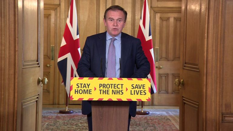 George Eustice chairs a coronavirus briefing from Downing Street