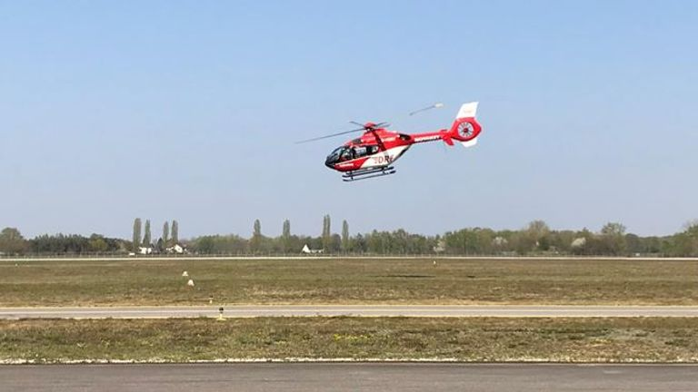 The German Air Ambulance is transporting patients