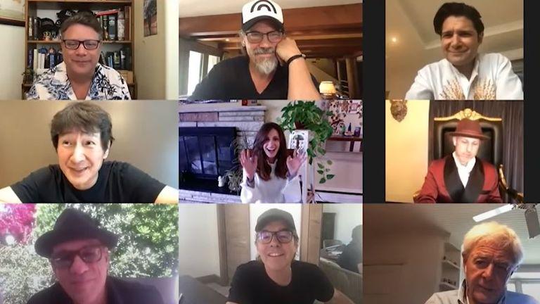 The Goonies cast reunite for a virtual lockdown. Pic: Josh Gad/YouTube