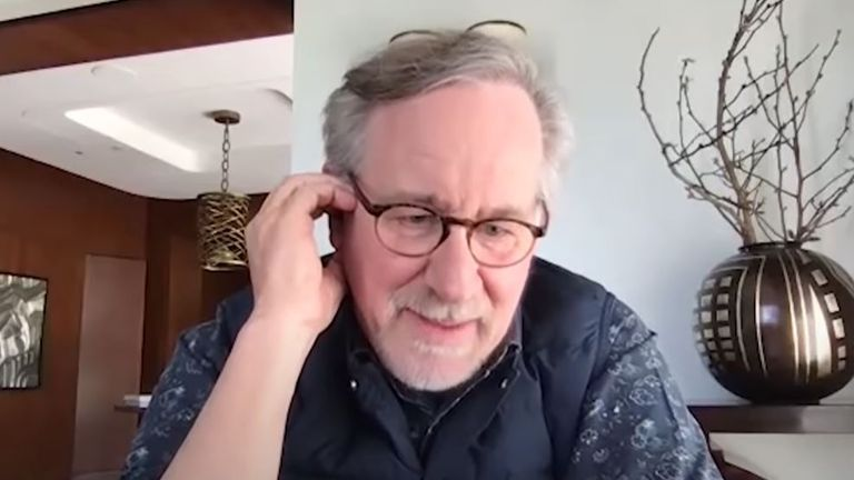 Steven Spielberg joined a virtual lockdown Goonies reunion. Pic: Josh Gad/YouTube