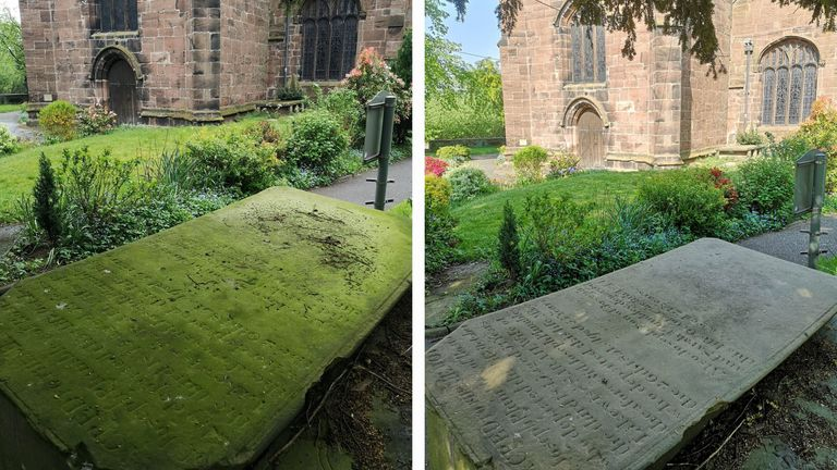 Ryan uses his walks to clean gravestones - with astonishing results. Pic: Ryan van Emmenis