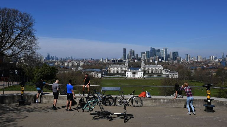 People seemed too close together in the sunshine in Greenwich Park