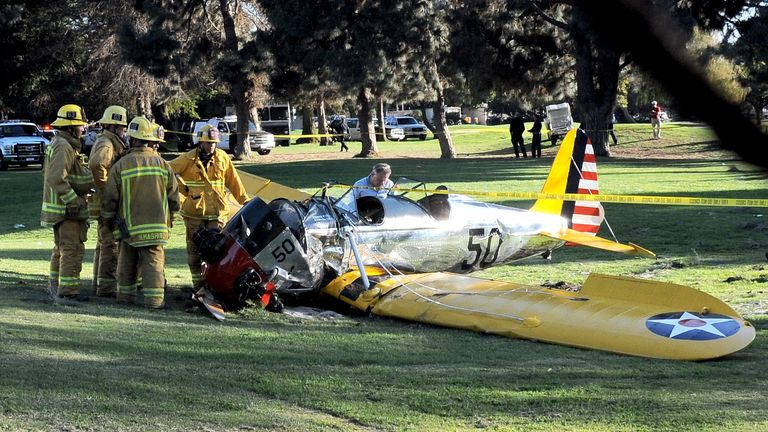 The remains of  Harrison Ford's plane after crashing on a golf course on March 5, 2015 in Venice, California