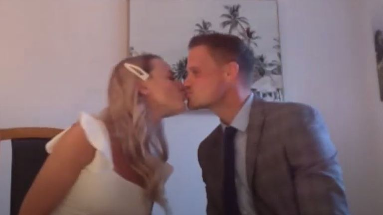 Hayley and Harvey had a virtual wedding in their front room