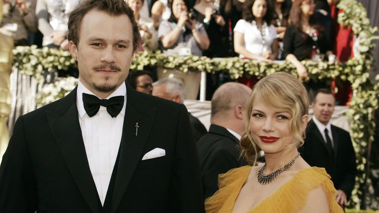 Brokeback Mountain stars Heath Ledger and Michelle Williams at the Oscars in 2006
