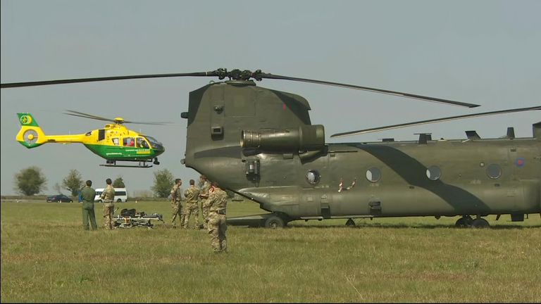 Helicopters used in conflict being made ready to help transport patients and equipment if Covid crisis gets worse
