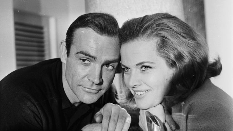 Sean Connery and Honor Blackman starred together in Goldfinger in 1964. (Photo by Express/Getty Images)