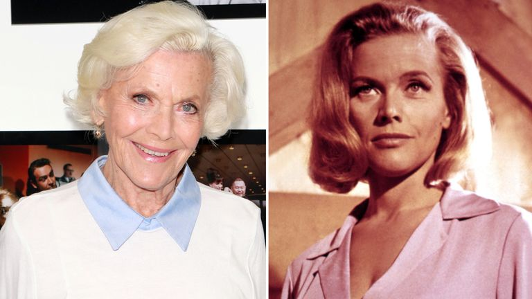Honor Blackman. Pics: Getty/Moviestore/Shutterstock