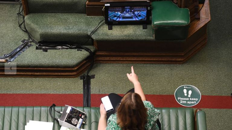 Inside pictures of the House of Commons, which has been fitted with video screens as it goes semi-virtual because of the coronavirus outbreak. .Pic: UK Parliament/ Jessica Taylor