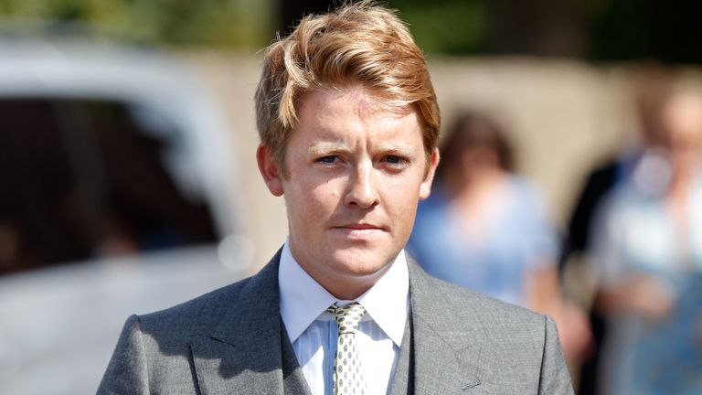 FRENSHAM, UNITED KINGDOM - AUGUST 04: (EMBARGOED FOR PUBLICATION IN UK NEWSPAPERS UNTIL 24 HOURS AFTER CREATE DATE AND TIME) Hugh Grosvenor, Duke of Westminster attends the wedding of Charlie van Straubenzee and Daisy Jenks at the church of St Mary the Virgin on August 4, 2018 in Frensham, England. Prince Harry attended the same prep school as Charlie van Straubenzee and have been good friends ever since. (Photo by Max Mumby/Indigo/Getty Images)