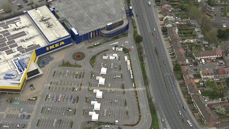 Drive-thru testing for NHS workers is taking place in the car park of IKEA in northwest London.