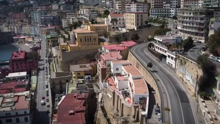 Naples is deserted as coronvirus lockdown continues
