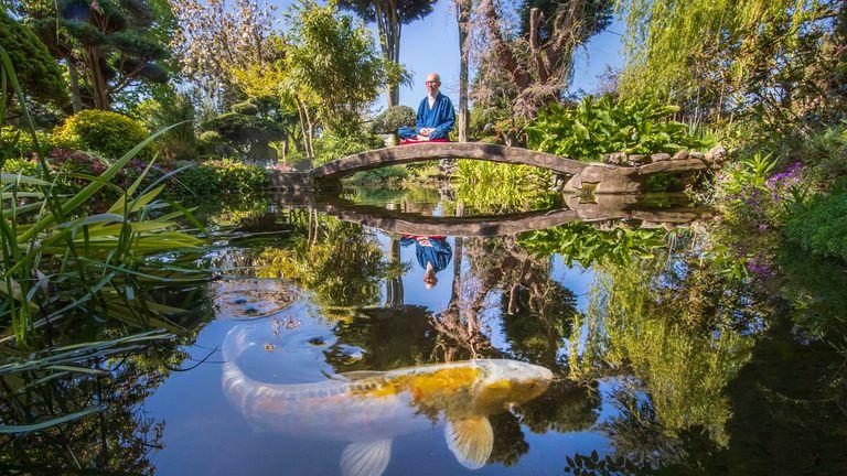 Former Buddhist monk Buddha Maitreya, in his award-winning Japanese garden at the Pure Land Meditation Centre in Nottinghamshire
