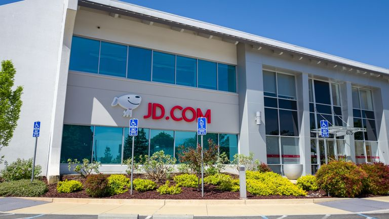 Facade with logo at the Silicon Valley headquarters of Chinese e-commerce company Jingdong, formerly 360buy, or JD.com, Mountain View, California, May 3, 2019