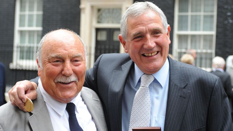 Jimmy Greaves and Norman Hunter at the Downing Street reception where they received their World Cup medals