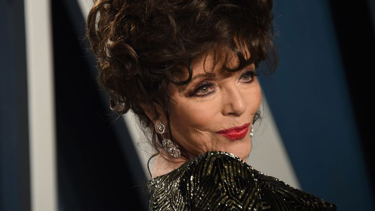 Joan Collins at the Vanity Fair Oscars party 2020