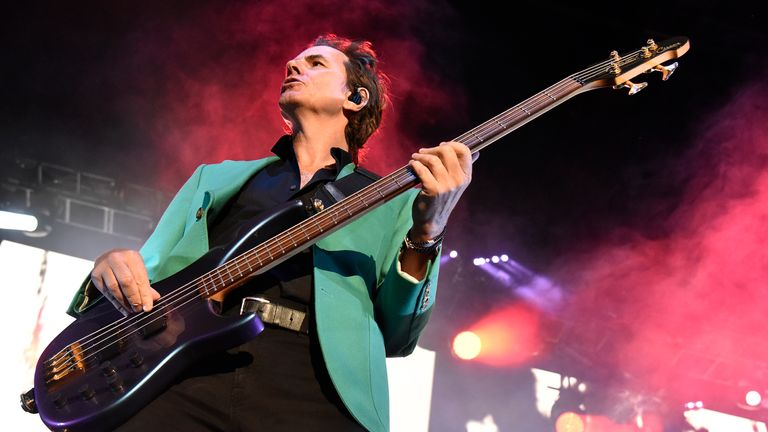 STATELINE, NEVADA - SEPTEMBER 13: John Taylor of Duran Duran performs at Lake Tahoe Outdoor Arena At Harveys on September 13, 2019 in Stateline, Nevada