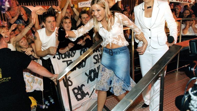 Kate coming out of the Big Brother house in 2002