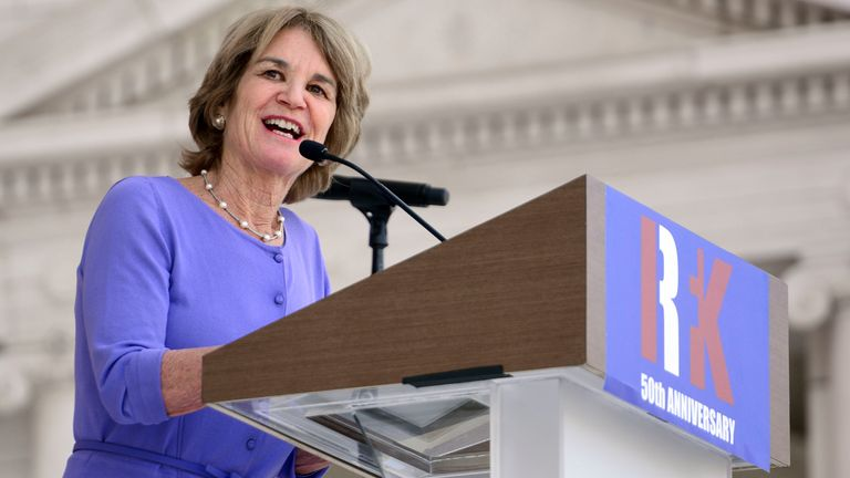 Kathleen Kennedy Townsend delivers opening remarks during a Remembrance and Celebration of the Life & Enduring Legacy of Robert F. Kennedy event taking place at Arlington National Cemetery on June 6, 2018 in Arlington, Virginia
