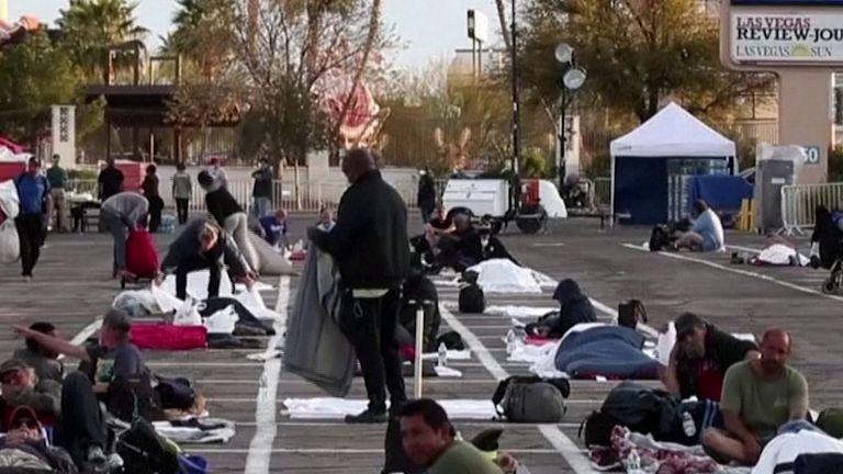 Las Vegas car park becomes area for homeless to sleep