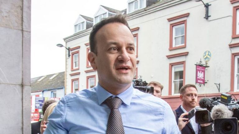 Ireland's Prime Minister, Leo Varadkar (arrives at the North South Ministerial Council offices in Armagh, Northern Ireland on March 14, 2020, for a meeting of the Irish Government and Northern Ireland Executive concerning the novel coronavirus Covid-19 outbreak. (Photo by Paul Faith / AFP) (Photo by PAUL FAITH/AFP via Getty Images)