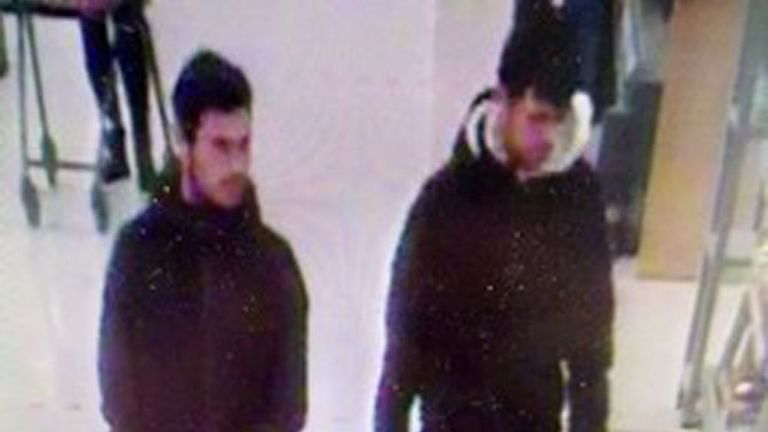 A CCTV image of the men who police are searching for after they licked their hands in a supermarket and wiped them over food