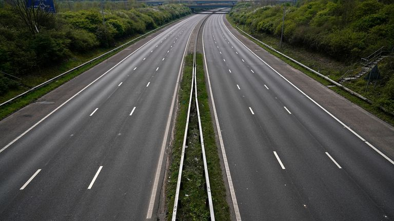 Mid-afternoon the M6 motorway is deserted as people heed the official advice and stay home on Easter Sunday