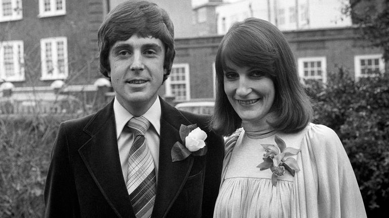 "John Stapleton, one of the presenters of the BBC's ""Nationwide"" programme with his bride, 29 year old journalist Lynn Faulds Wood, after their wedding at Richmond Register Office"