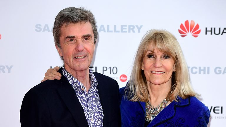 Lynn Faulds Wood (right) and John Stapleton (left) attending the From Selfie to Self-Expression exhibition at the Saatchi Gallery in London. PRESS ASSOCIATION Photo. Picture date: Thursday 30th March, 2017. Photo credit should read: Ian West/PA Wire.