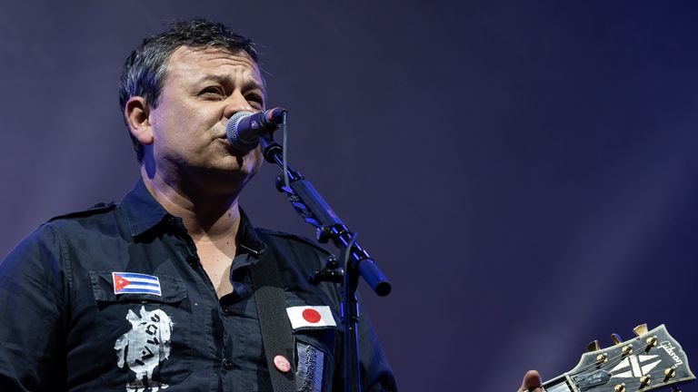James Dean Bradfield of Manic Street Preachers performs on main stage during Kendal Calling 2019 at Lowther Deer Park on July 27, 2019 in Kendal, England