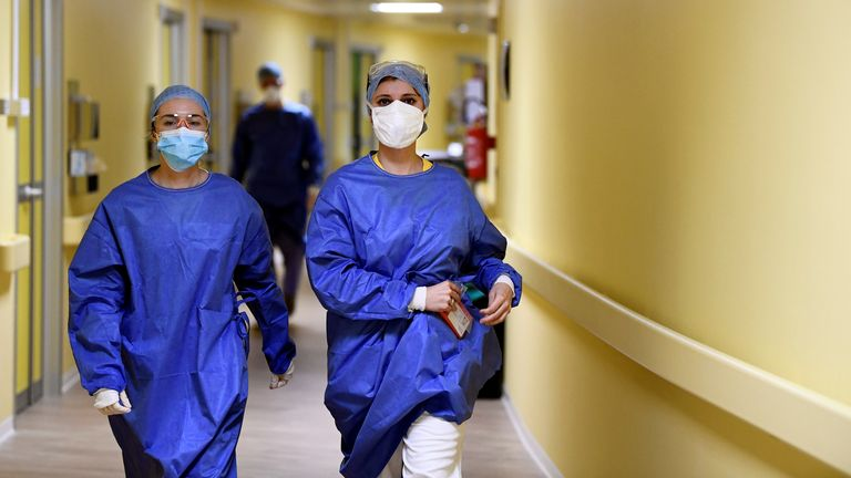 Medical staff at a hospital in Milan