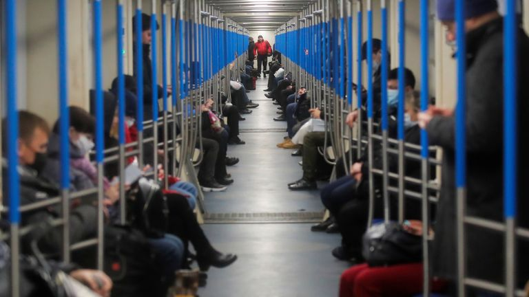 People in Metro train in Moscow