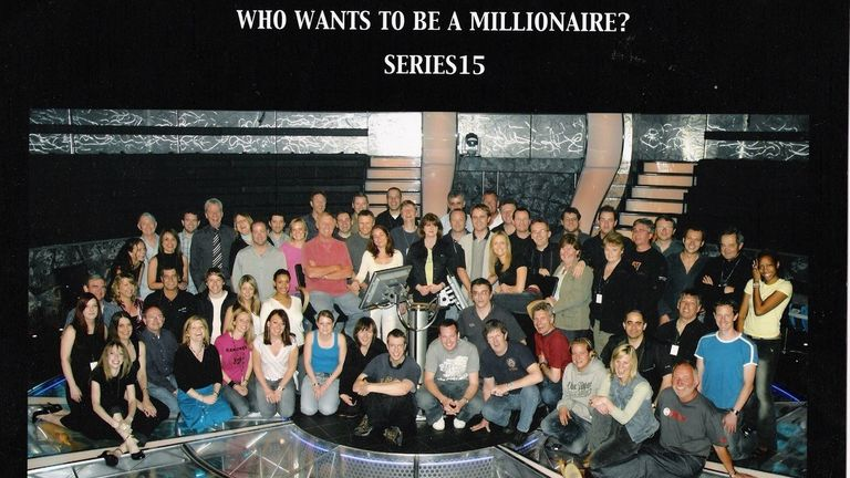Then senior floor manager Phil Davies (blue t-shirt on the right) on the set Who Wants To Be A Millionaire? in 2004