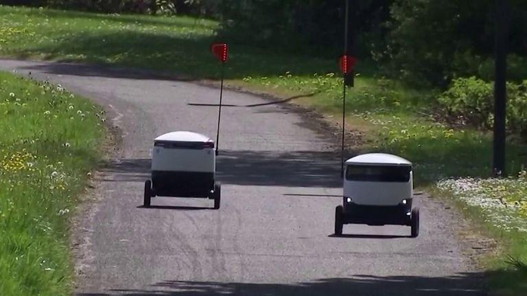 Robots deliver food parcels in Milton Keynes