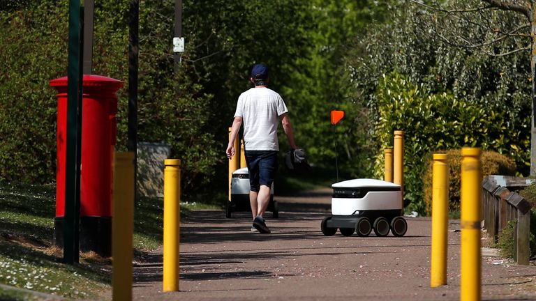 The robots have become a regular sight on the streets of Milton Keynes