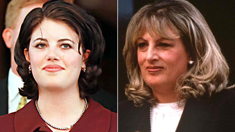 Monica Lewinsky and Linda Tripp in 1998. Pics: Globe Photos/mediapunch/Shutterstock