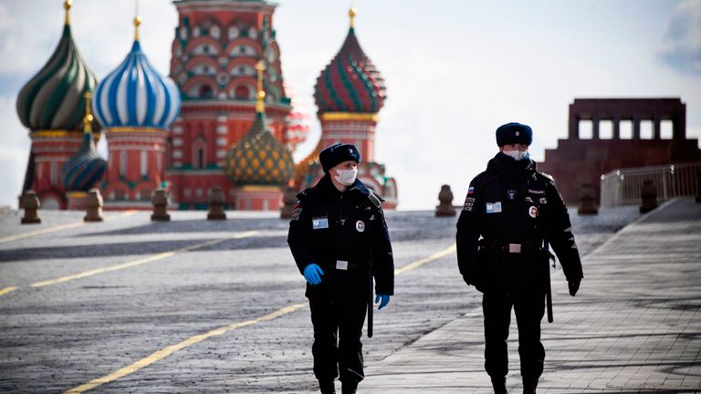 Police officers in Moscow