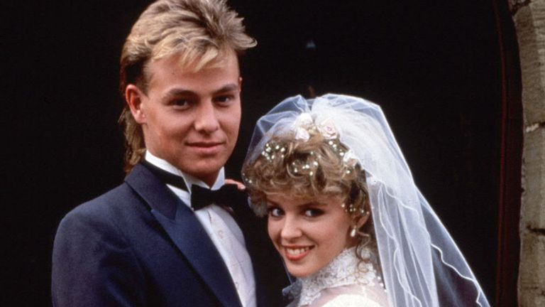 'Neighbours' TV Soap The Wedding of Jason Donovan and Kylie Minogue. Pic: Fremantle Media/Shutterstock