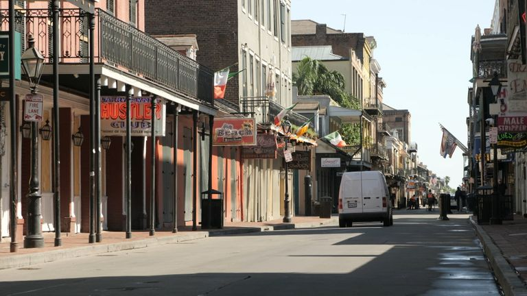 The usually bustling streets of New Orleans stand empty