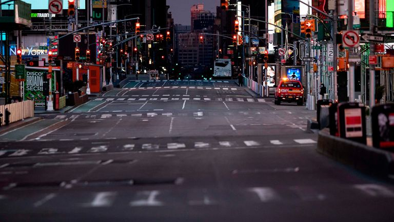 A street in Times Square is empty of traffic on April 23, 2020, in New York City.