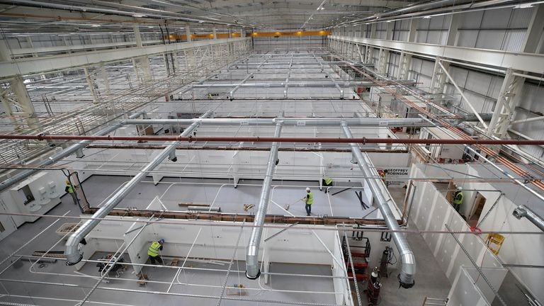 The main hall where the beds will be located is bigger than a football pitch