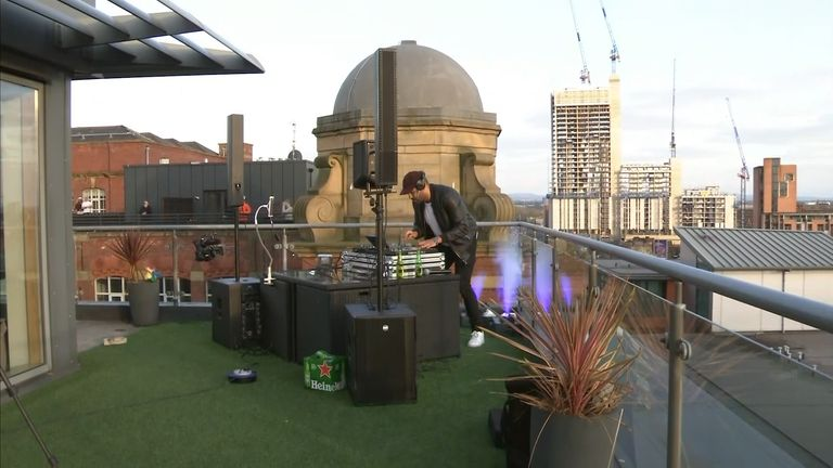 DJ Nkosi Inniss performing his rooftop set
