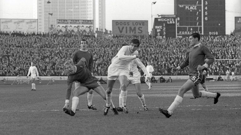 Hunter (centre) playing for Leeds against Chelsea in November 1965