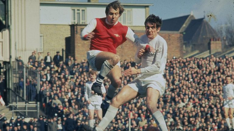 Hunter challenges for the ball against Arsenal at Highbury in August 1969