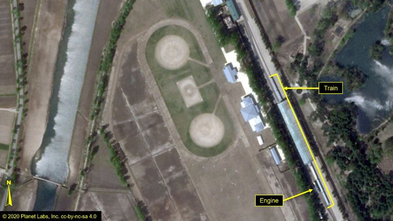 The train believed to belong to Kim Jong Un has been photographed in Wonsan. Pic: Airbus Defence & Space and 38 North/Pleiades © CNES 2020, Distribution Airbus DS